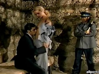 Blonde prisoner getting DP from the inerogator and a guard for her sins