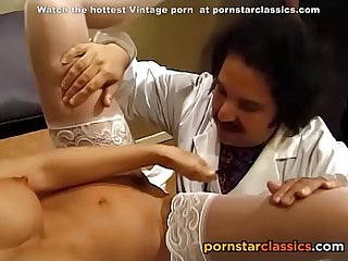 Retro Doctor and hot nurse fuck in front of the students