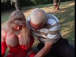 Hot girl in red with big boobs wildly banged